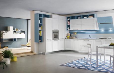 cucina moderna bianca in open space
