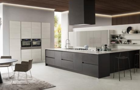 cucina con penisola in open space moderno