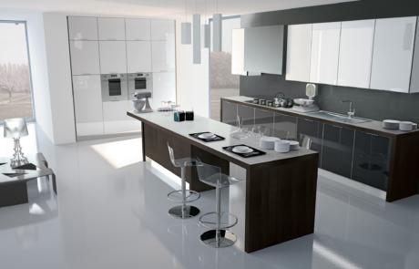 cucina laccata bianca e nera con penisola