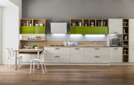 Cucina moderna arrex bianca e verde
