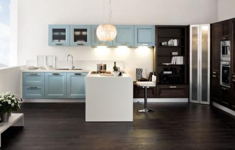 Cucina arrex moderna azzurra e nera
