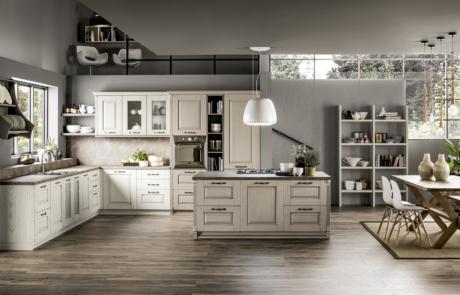 arrex cucina nora bianca con finitura in legno